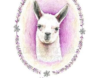 Llama Art Print from Original Drawing , Free Personalization , Wall Decor , 8 1/2 x 11 or 8 x 10