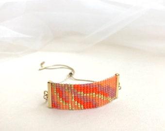 Beadwoven Adjustable Gold Chain Bracelet in Tangerine Orange