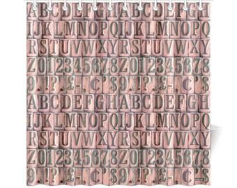 Vintage Alphabet Rubber Stamps Shower Curtain - printed photographic alphabet shower curtain