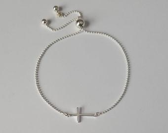 Sterling Silver Cross Bracelet, Sterling Silver Ball Chain, Adjustable Bracelet, Dainty Bracelet, Birthday Gift, Girl Gift