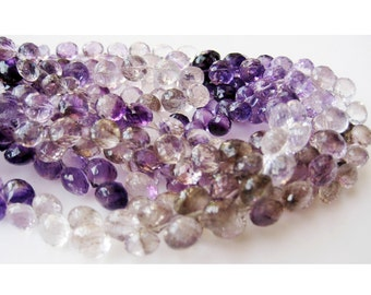 Rutilated Amethyst Beads, Amethyst Rutile, Faceted Onion Briolette Beads, 6mm Beads, 29 Pieces, 4.5 Inch Half Strand