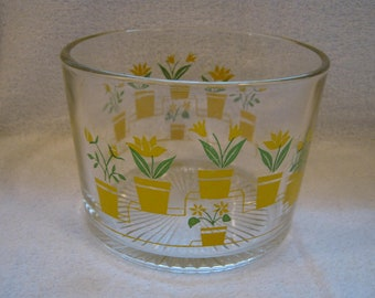 Vintage Glass Ice Bucket Yellow Flowers Pots Green Leaves Retro Barware Bowl