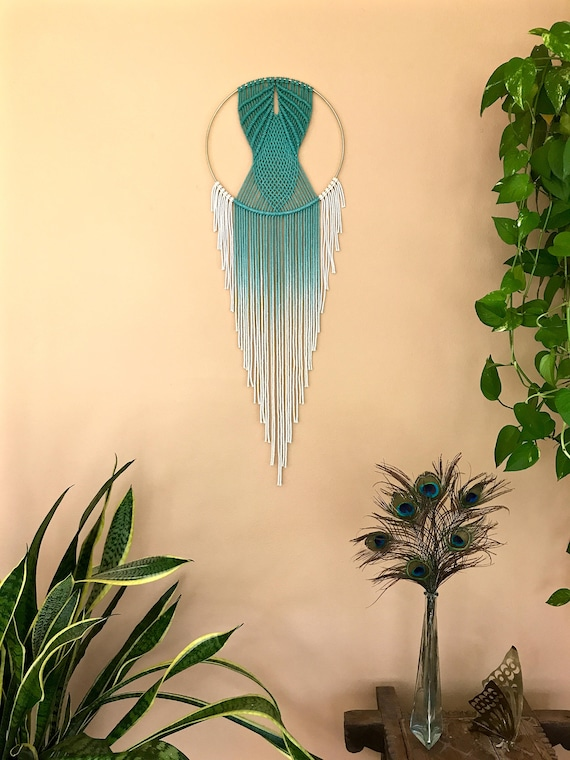 Macrame Dream Catcher - Hand Dyed Teal Rope