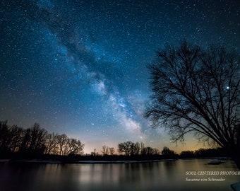 Astro Photography, Milky Way, Starry Night, Fine Art Print, Dark Blue, River, Tree Silhouette, Magical, Galaxy, Night Sky, Wisconsin