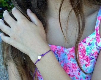 Girls Friendship Bracelet Tiny Silver or Gold Heart, For Kids, Girls and Women, Adjustable, 16 colors