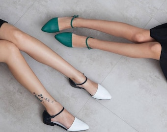 Women's shoes, green sandals, women sandals, green shoes, flat sandals, girls sandals, leather sandals, minimalist sandals, Nills model.