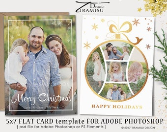 Christmas Card Template , 5x7in Holiday Card Template, Adobe Photoshop psd Template, sku xm17-1