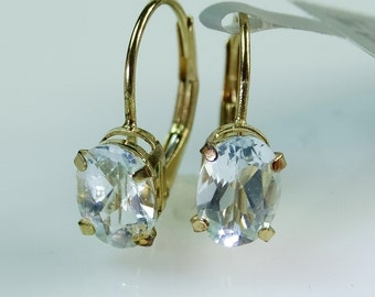 Beautiful New 14K Yellow Gold & Topaz Gemstone Earrings