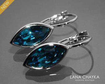 Indicolite Teal Crystal Marquise Earrings Swarovski Indicolite Silver Leverback Earrings Wedding Bridesmaid Dark Teal Earring Bridal Jewelry