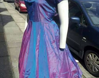 SALE Fabulously glamorous later 1940s New Look era tafetta/sharkskin two tone purple/pinky evening dress