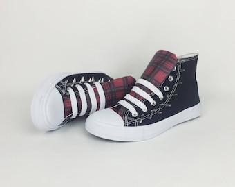 Tartan shoes, rockabilly shoes, women shoes, alternative, rockabilly  clothing, punk spike