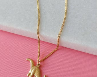 Dinosaur Charm Necklace - Vintage Gold Charm Necklace - Brachiosaurus - (SD1301)