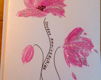 Double silver glitter and pink poppies hand painted card for a birthday card