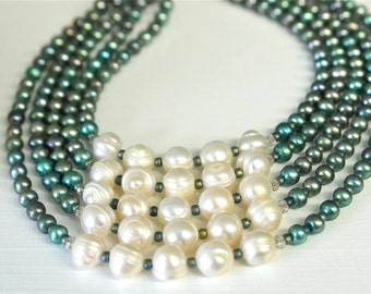 Sea Green and Off White Pearl Necklace and Earring SET with Green and Creamy White Freshwater Pearls and Glass Seed Beads Handmade in Maine