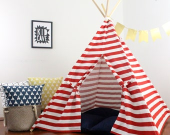 Teepee, Kids Tent, Can Include Window, Red Striped Play Tent Canopy, Heavy Home Decor Fabric Teepee with Full One Piece Poles, READY TO SHIP