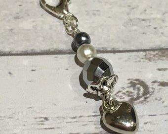 Purse heart charm, silver zipper charm, heart purse charm, cute zip charm, purse zip charm, bead purse charm, gift, accessory, zip charm,