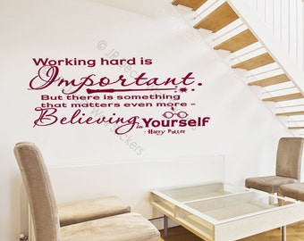Working hard is Important- inspirational Quote Nursery Wall Decal wall stickers jrd-qw-35
