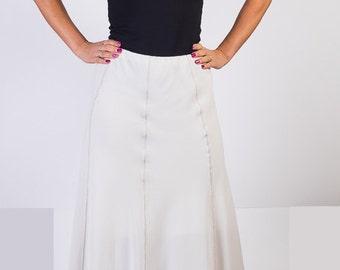 Vintage 80s 90s, Diagonal fabric Skirt, Midi Knee Length,White skirt,Irregular lower edge,Size  XL