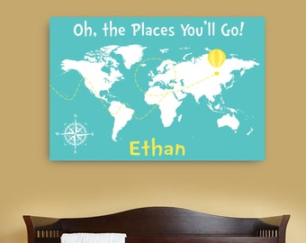 Dr seuss map etsy oh the places you will go canvas map with namepersonalized dr seuss canvas art gumiabroncs Image collections