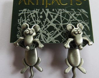 JJ Jonette Pewter 3-D Mouse Pierced Earrings