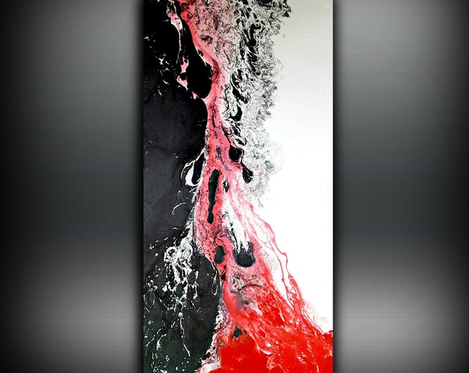 White Black and Red Painting 24x48 Abstract Painting Acrylic Painting Abstract Wall Art Large Wall Art Canvas Modern Home Decor Wall Hanging