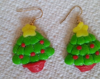 B#209  Christmas Tree handmade earrings