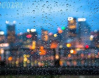 Blue Rainy Pittsburgh (city, bridges, cityscape, rain, raindrops, bokeh, abstract)