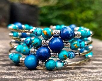 Ocean Blues Memory Wire Bracelet (Four Loops)
