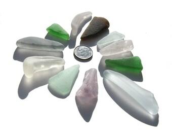 Sea Glass, 11 pc lot of genuine, ocean-tumbled sea glass, sea glass, beach glass, lot for crafts, art, jewelry