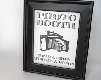 Uptown Photo Booth Printable Sign Wedding Decor DIY You Print Reception Sign Old Fashioned Camera 8x10 5x7 and 4x6