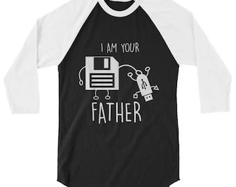 Funny Floppy Disk to USB I Am Your Father 3/4 Sleeve Raglan Baseball Shirt