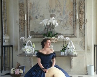 Civil war ball gown - 19 th century gown - ball dress with Crinoline - nineteenth CEZANNE