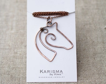 Horse Necklace. Wire Horse. Copper. Oxidized. Wire Jewelry