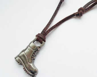 Men's leather necklace with metal boot, Men's combat boot on leather Cord, Men's gift, men's jewelry, brown leather cord with boot