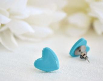 Turquoise heart earrings - Stud earrings