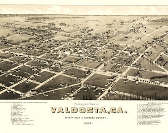 Vintage Map - Valdosta, Georgia 1885