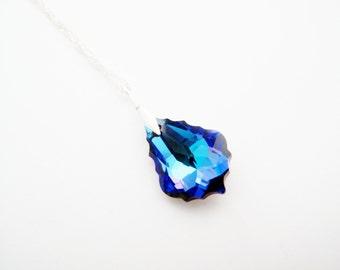 Purple Blue Necklace Swarovski Crystal Chandelier Pendant, Bridal Necklace, Heliotrope Swarovski Necklace on Sterling Silver 925