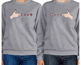 Hand Gun Graphic Heather Grey Sweatshirts Set [FSS048HG]