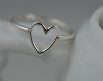 Heart Ring Sterling Silver / 925 Open Heart / Love Ring