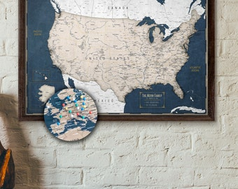 Push pin map etsy push pin map usa personalized travel map of the us executive style 13x19 gumiabroncs Image collections