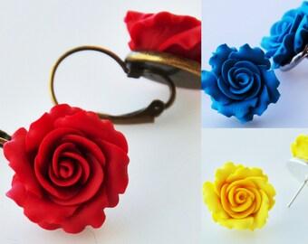 Rose Earrings - Clay Earrings - Flower Earrings - Rose Jewelry - Polymer Clay Rose Earrings - Bridesmaid Earrings