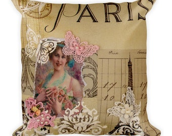 Paris Pink Butterfly Square Pillow