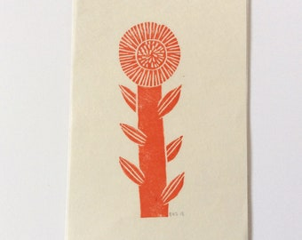 mini linocut - FLOWER // 4x6 art print // printmaking // block print // nature art // red // wildflower // original // small, miniature