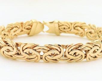 Vintage 14k Gold Byzantine Bracelet