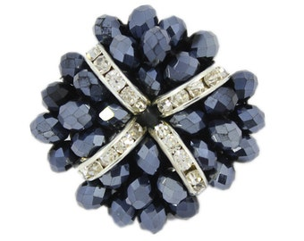 Crystals and Dark Blue Beads Flower Button. 1.3 inch