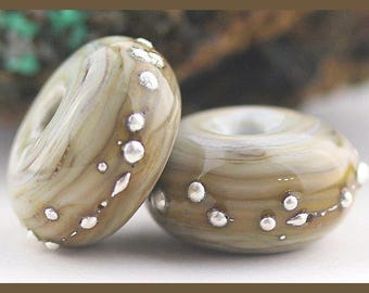 Silver-Drizzled Portobello Handmade Lampwork Glass Bead Pair SRA, Made To Order