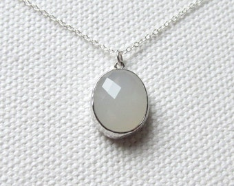 Cloudy White Crystal Sterling SIlver Necklace, Chunky Glass Pendant Sterling Silver Chain, Minimalist Jewelry,