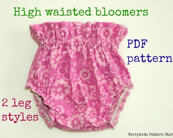 Diaper cover pattern, Ruffle bloomer pattern, Girls bloomer pattern, Baby pants pattern, High waisted bloomer pdf pattern  (S126)