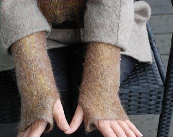 Felted arm warmers Women cuffs Felted narrow scarf Alpaca wool Winter arm warmers