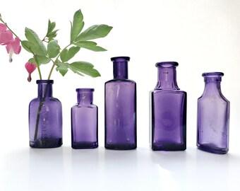 Vintage Purple Bottle Collection Antique Purple Apothecary Bottles Rustic Wedding Decor Amethyst Bottle Lot